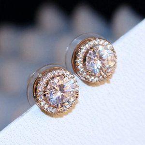 *NEW 18K Rose Gold Diamond Halo Stud Earrings